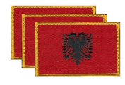 PACK of 3 Albania Flag Patches 8.9cm x 5.7cm , Albanian Embroidered Iron On or Sew On Flag Patch Emblem