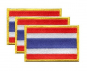 PACK of 3 Thailand Flag Patches 8.9cm x 5.7cm , Thai Embroidered Iron On or Sew On Flag Patch Emblem