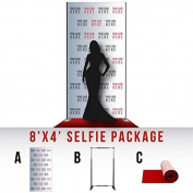 Step and Repeat LA Custom 2.4m x 1.2m Selfie Package, No-wrinkle, Vinyl Banner, Includes Stand and Red Carpet, Made in USA