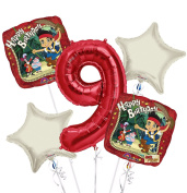 jake and the Neverland Pirates Balloon Bouquet 9th Birthday 5 pcs - Party Supplies