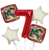 jake and the Neverland Pirates Balloon Bouquet 7th Birthday 5 pcs - Party Supplies