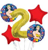 Wonder Women Balloon Bouquet 2nd Birthday 5 pcs - Party Supplies