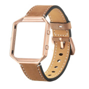 Crazy Horse Pattern Leather Strap,For Fitbit Blaze Smart Watch Luxury Genuine Leather Watch Band Wrist Strap + Metal Frame By Hongxin