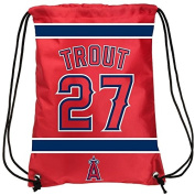 MLB Los Angeles Angels Trout M. #27 Drawstring Backpack Sports Fan Home Decor, Red, One Size