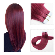 Mario Hair Tape in Hair Extensions Burgundy Human Hair Silky Straight Skin Weft Human Remy Real Hair