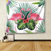 Yesido. Green Leaf Flamingo Animal Pattern Hanging Wall Decor Beach Towel Thin Mat