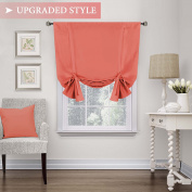 Blackout Curtain for Small Window, Thermal Insulated Tie Up Shade / Rod Pocket Curtain Panel - 110cm Wide by 160cm Long - Solid in Coral (Sold per Panel) - by H.Versailtex