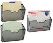 3 Pack - SimpleHouseware Wall Mount Single Pocket File Organiser Holder, Black