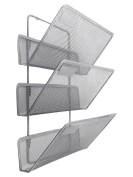 EasyPAG 3 Tier Assembly Wall Mounted Hanging File Organiser Mesh Metal Magazine Rack ,Silver