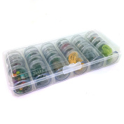 Storage Box 24 Round Clear Jars Containers Multi-functional Organiser For Crafting Sewing Beads Jewellery Buttons