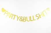 LOVELY BITON™ Gold Party Bull Shit Letters Banner Decoration Kit Themed Party Banner for Birthday Wedding Showers Photo Props Window Decor