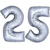 """DekoRex® Foil Balloons 40"""" 100cm Numbers for Birthday Party Anniversary for Helium or Air Filling Silver No. 25"""