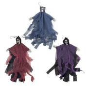 Set of 3 Hanging Hooded Skeletons With Bendable Movable Arms! Perfect for Your Next Halloween Gathering!