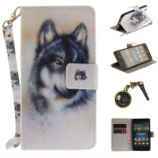 PU Case for P8 Lite Animals Landscape Case For P8 Lite Leather Case Wallet Book Type PU Leather and TPU Inner Case Colourful Painting Magnetic Closure Leather Case Cover + Anti Dust Plug