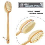 Wooden Handle Double Sided Body Brush Massager Shower Bath Loofah Back Scrubber Spa Gently Cleansing For All Skin Types