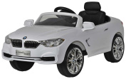 BMW 4-Series White - First Drive - 12v Kids Cars - Dual Motor Electric Power Ride On Car with Remote, MP3, Aux Cord, Led Headlights, and Premium Wheels