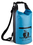 Dry Bag - Waterproof Bag - Outdoors Sack Keeps your Gear Safe and Dry for Hiking, Camping, Kayaking, Canoeing, Rafting, Swimming, Beach, Boating with Blue Silicone Bracelet by IvoDry