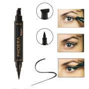 Hunputa Eyeliner,2 in 1 Vamp Stamp Eyeliner Pencil,Stay All Day Dual Ended Waterproof Liquid Eyeliner,Cat Eyes Makeup Cosmetic Tool, Black