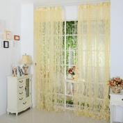 YRD TECH Leaf Sheer Curtain Tulle Window Treatment Voile Drape Valance 1 Panel Fabric