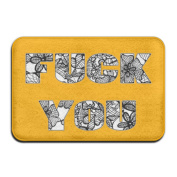 Swear Words Fxck Rectangular Doormat Funny Fashion-forward Thickness 2-inch(approx. 4.5 Cm) Point Plastic Anti-slip Base Door Rugs