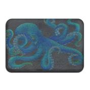 """Big Blue Octopus Rectangular Doormat Entry Comfortable Diameter 40 X 60cm/15.7 X 23.6"""""""" Memory Foam Door Rugs"""