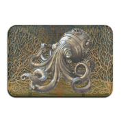 An Octopus Made Of Copper Rectangular Doormat Washable Antiskid Thickness 2-inch(approx. 4.5 Cm) Coral Velvet Rug