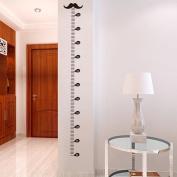 BIBITIME Black Moustache Height Chart Wall Decal Sticker Beard Growth Charts for Children Boys Girls Bedroom Kids Room Decor (Minimum scale