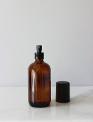 Apothecary Amber Glass Mist Bottle with Black Metal Aluminium Mist Nozzle with Black Cap