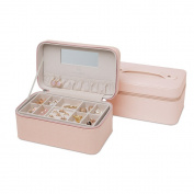 Vlando Ampio Jewellery Box - 3 tray with 18 sections jewellery organiser, holder for Earring Ring Necklace Bracelet & Watch -Fabulous Gift Idea- Pink