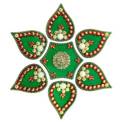Icrafts Diwali Rangoli Floor Decorations Acrylic Shape with Studded Stones and Sequins, Traditional Festive Home Decor