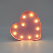 Marquee Light Pink Red Heart Shape Decorative Signs Battery Operated Wedding Light LED Night Light Kids Plastic Light up Toy Halloween Christmas Holiday Decorations Costume Gift