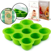 BabyBliss Eco Friendly Silicone Baby Food Freezer Storage Tray   9 Large Cups (70ml)   Clip-On Silicone Lid   Toxin and BPA Free & FDA Approved   Oven and Dishwasher Safe