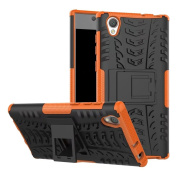 Xperia L1 Case,ARSUE Hard Silicone Rubber Hybrid Armour Shockproof Protective Case Cover with Kickstand for Sony Xperia L1 - Orange