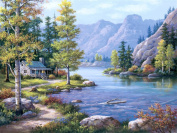DIY oil Painting by Numbers kit 41cm x 50cm for Adults Beginner Children, CaptainCrafts New Creative DIY digital oil painting Kids LINEN Canvas - Landscape, Forest Country River Mountain View