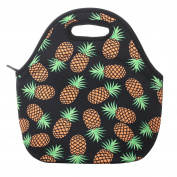 Pineapple Neoprene Lunch Bag Insulated Lunch Box Tote for Women Men Adult Kids, Black