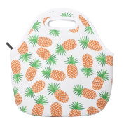 Pineapple Neoprene Lunch Bag Insulated Lunch Box Tote for Women Men Adult Kids, White