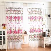 YRD TECH Flower Sheer Curtain Tulle Window Treatment Voile Drape Valance 1 Panel Fabric