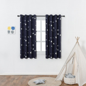 Anjee Navy Blue Star Print Blackout Curtains for Kids Room (2 Panels), Thick Thermal Insulated Window Drapes Curtain Panels for Nursery Room / Star War Themed Game Room, W52 x L63 Inches
