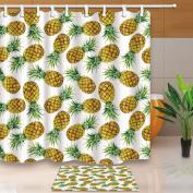 KOTOM Tropical Fruit Decor, Watercolour Exotic Pineapple for Kids 180cm X 180cm Mildew Resistant Polyester Fabric Shower Curtain Suit With 40cm x 60cm Flannel Non-Slip Floor Doormat Bath Rugs