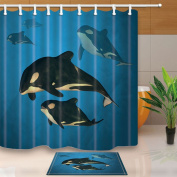KOTOM Underwater Animals Decor, A family of Orca Whales Swimming in the Ocean 180cm X 180cm Polyester Fabric Shower Curtain Suit With 40cm x 60cm Flannel Non-Slip Floor Doormat Bath Rugs