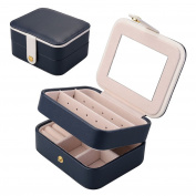 Jewellery Box, Aulola® Faux Leather Jewellery Case and Display Case 2 Layers with Mirror for Earrings Necklace Jewels Bracelets Organiser Jewellery Storage Box,Small Size