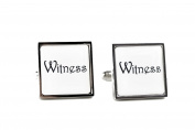 Wedding Cufflinks with Gift Box Square Design - Witness Text