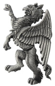 Grey Heraldic Gryphon Pewter Lapel Pin by Tyler and Tyler