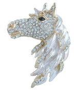 Sindary 7cm Austrian Crystal Unique Horse Animal Brooch Pin Pendant UKB6535