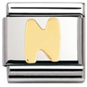 Nomination Composable Classic Letter N Stainless Steel and 18K Gold