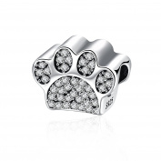 NYKKOLA Element Crystal 925 Sterling Silver Puppy Dog Paw Animal Footprints Charms Beads Fits Pandora Bracelet