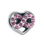 Bling Stars Heart Love Infinity Charms Pink Birthstone Crystal Beads Fit Pandora Charm Bracelet