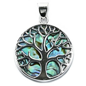 Solid Sterling Silver & Abalone Tree of Life Yggdrasill Pendant Pagan
