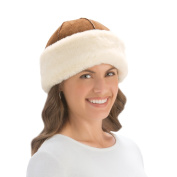 Faux Suede Hat With Faux Fur Trim, Beige, Hand Wash Only