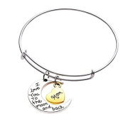 UNKE Family Jewellery Bracelet Family Members Sister/Dad/ Mom/Brother/Daughter Moon Love Bracelet Bangle Jewellery